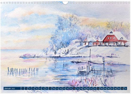 Kalenderblatt Januar Wintermorgen am Greifswalder Bodden