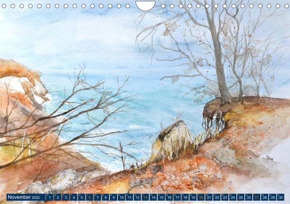 Kalenderblatt November Herbst an der Steilküste