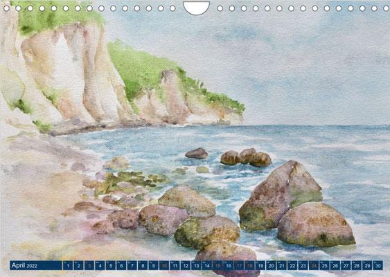 Kalenderblatt April An der Kreideküste