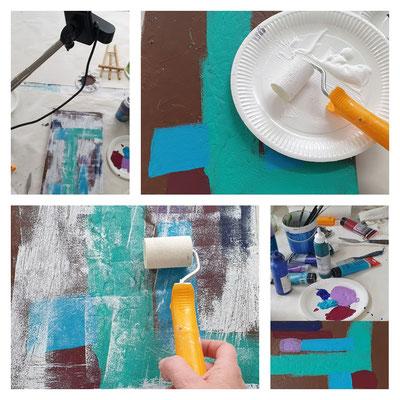 Malen mit Schaumstoffrolle