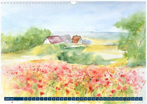 Kalenderblatt Juni Jasmunder Mohnfeld
