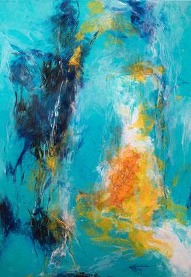 """""""Symphonie in Blau 1"""", Abstrakt auf Leinwand, 80 cm x 100 cm"""