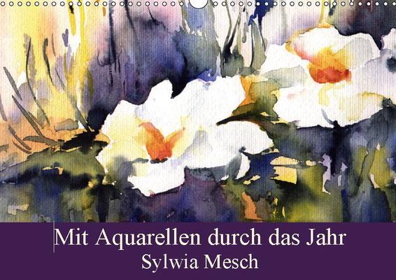 Aquarell Kalender 2019, Landschaften und Blumen Motive