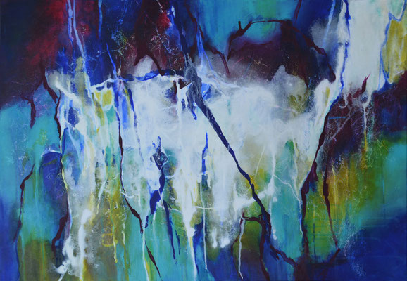 "Acrylbild auf Leinwand, ""Tropfsteinhülle"" 80 cm x 100 cm (Verkauft)"