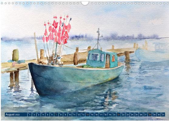 Kalenderblatt August Fischerboot am Bodden