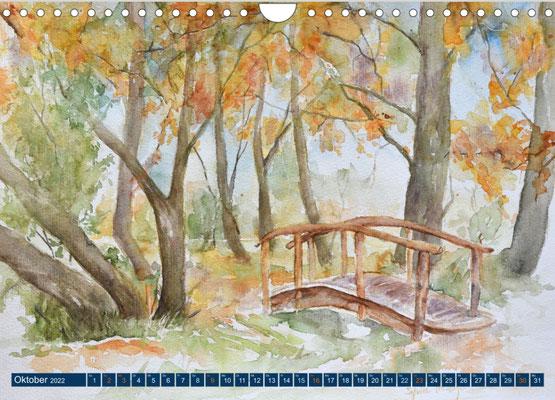 Kalenderblatt Oktober Park am Schloss Spyker