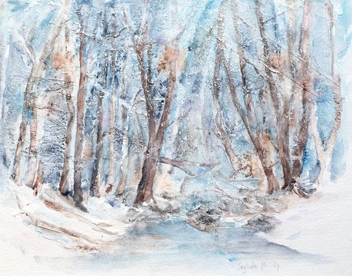 Aquarell, Mischtechnik, Winterlandschaft