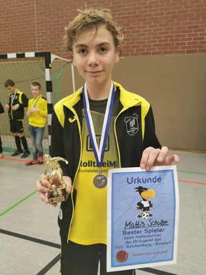 Bester Spieler beim Hallencup von Reichenberg/Boxdorf wurde Mattis Schulze