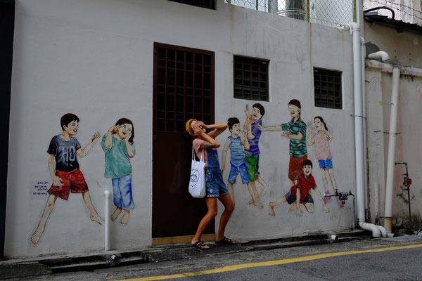 Straßenkunst von Ernest Zacharevic. Seine Kunst findest du nicht nur in Ipoh, sondern auch in Georgetown , Penang