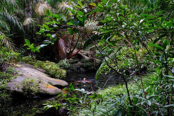 Der einzige Ort, wo Enno ohne Krokodile schwimmen konnte. Mitten im Nirgendwo, an einem Wasserfall