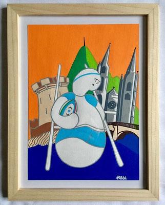 Kiñu-peinture sur papier Canson A5, 200g-Encadrement en pin naturel. Réf : KA5-05 / 25€