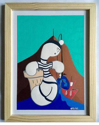 Kiñu-peinture sur papier Canson A5, 200g-Encadrement en pin naturel. Réf : KA5-02 / 25€-NON DISPONIBLE