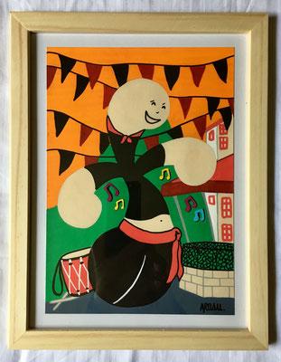 Kiñu-peinture sur papier Canson A5, 200g-Encadrement en pin naturel. Réf : KA5-17 / 25€-NON DISPONIBLE