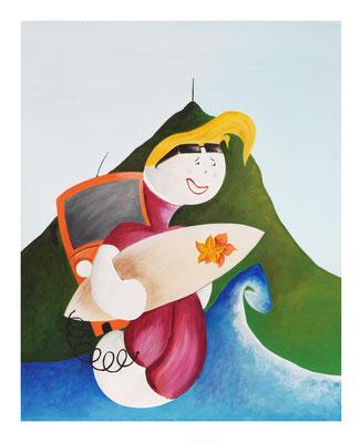 Kiñu surfeur, acrylique sur toile, 50x40cm, 85€.  (3)