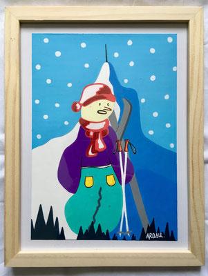 Kiñu-peinture sur papier Canson A5, 200g-Encadrement en pin naturel. Réf : KA5-09 / 25€