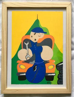 Kiñu-peinture sur papier Canson A5, 200g-Encadrement en pin naturel. Réf : KA5-15 / 25€ - NON DISPONIBLE