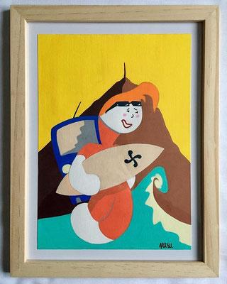 Kiñu-peinture sur papier Canson A5, 200g-Encadrement en pin naturel. Réf : KA5-01 / 25€-NON DISPONIBLE