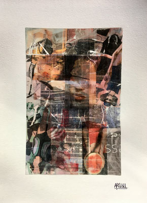 Fashion week, collage sur papier A3, 300g-2018-90€. (15)