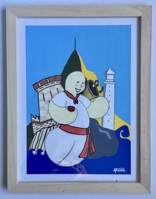 Kiñu-peinture sur papier Canson A5, 200g-Encadrement en pin naturel. Réf : KA5-20 / 25€-NON DISPONIBLE