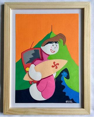 Kiñu-peinture sur papier Canson A5, 200g-Encadrement en pin naturel. Réf : KA5-08 / 25€