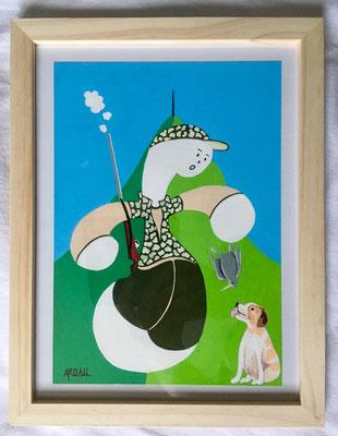 Kiñu-peinture sur papier Canson A5, 200g-Encadrement en pin naturel. Réf : KA5-19 / 25€-NON DISPONIBLE