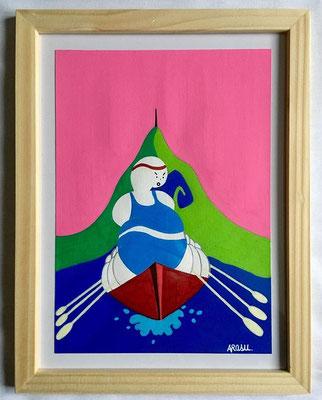 Kiñu-peinture sur papier Canson A5, 200g-Encadrement en pin naturel. Réf : KA5-04 / 25€-NON DISPONIBLE
