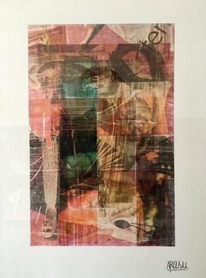 Santal, collage sur papier A3, 300g-2018-90€. (23)