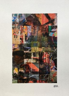 Shangaï, collage sur papier A3, 300g-2018-90€.  (3)