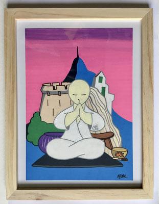 Kiñu-peinture sur papier Canson A5, 200g-Encadrement en pin naturel. Réf : KA5-21 / 25€