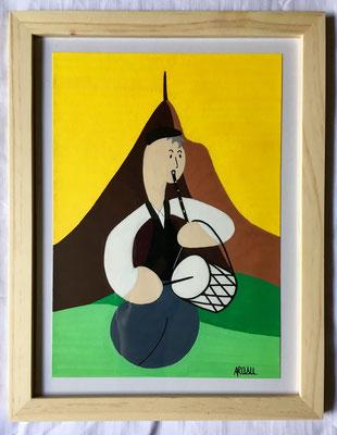 Kiñu-peinture sur papier Canson A5, 200g-Encadrement en pin naturel. Réf : KA5-18 / 25€