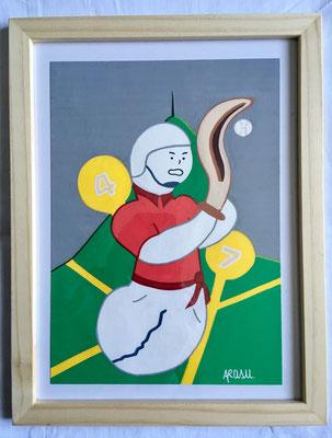Kiñu-peinture sur papier Canson A5, 200g-Encadrement en pin naturel. Réf : KA5-07 / 25€