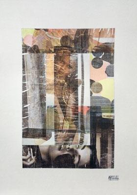 Tombouctou, collage sur papier A3, 300g-2018-90€. (11)