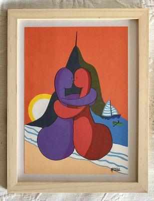 Kiñu-peinture sur papier Canson A5, 200g-Encadrement en pin naturel. Réf : KA5-22 / 25€