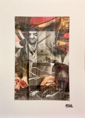 Joy, collage sur papier A3, 300g-2018-90€. (17)