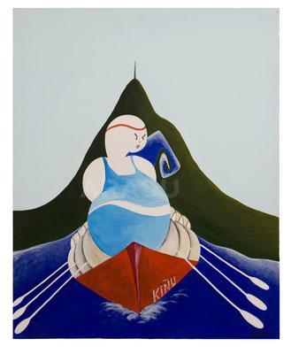 Kiñu aviron, acrylique sur toile, 50x40cm, 85€.  (1)