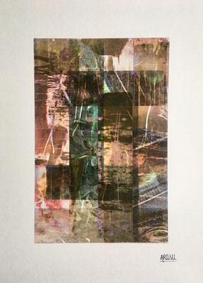 Le marais, collage sur papier A3, 300g-2018-90€. (13)