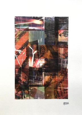 Incandescence, collage sur papier A3, 300g-2018-90€.  (1)