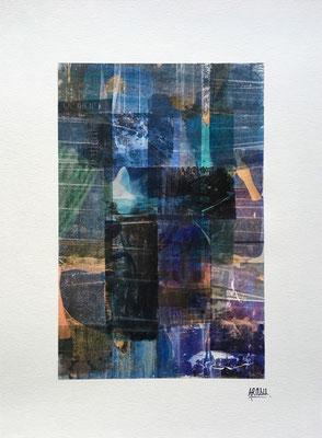 Under water, collage sur papier A3, 300g-2018-90€. (4)