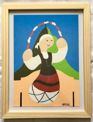 Kiñu-peinture sur papier Canson A5, 200g-Encadrement en pin naturel. Réf : KA5-11 / 25€-NON DISPONIBLE