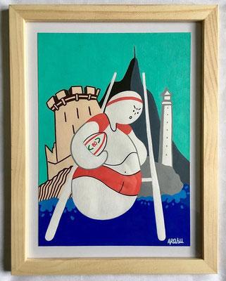 Kiñu-peinture sur papier Canson A5, 200g-Encadrement en pin naturel. Réf : KA5-06 / 25€