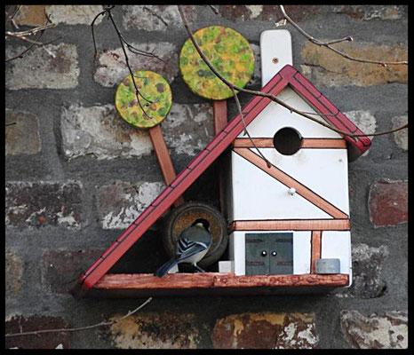 Houten Nestkastje voor Pindakaas pot, Nestkastje, Huisje bezet, Vogelhuisje bouwen, vogelhuisje pindakaas pot_1