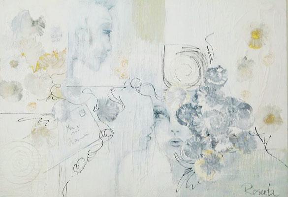 """Nr. 597 / """"Liebesbrief"""" / 100 cm x 70 cm / Acryl-Mischtechnik auf Holzplatte"""