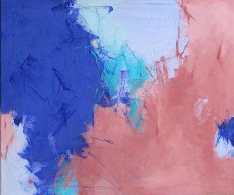 """Nr. 375  / """"Im blauen Tal 1"""" / 80 cm x 80cm / Acryl auf Leinwand"""