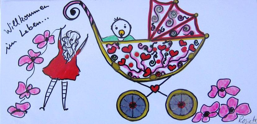 "Beispiel / Kunst-Karten  zum Anlass: ""Baby"""
