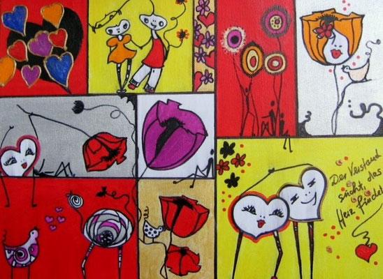 """Bild Nr. 528 / """"Liebe das Leben 7"""" / 40 cm x 30 cm / Acryl-Mischtechnik auf Leinwand"""