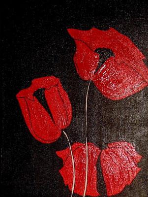 """Nr. 525 / """"Roter Mohn 2"""" / 30 cm x 40 cm / Acryl auf Leinwand"""