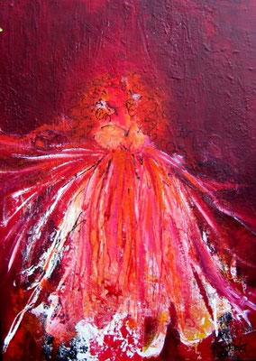 """Nr. 392 /  """"Feuerwerk der Gefühle"""" /  55 cm x 78 cm / Acryl auf Holzplatte"""