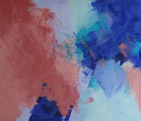 """Nr. 376 """"Im blauen Tal 2"""" / 80 cm x 80cm / Acryl auf Leinwand"""