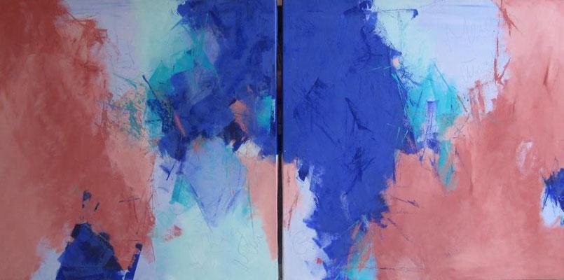 """Ansicht Bild Nr. 375  + 376  """"Im blauen Tal""""  / Gesamtgröße 160 cm x 80 cm  / Acryl auf Leinwand"""