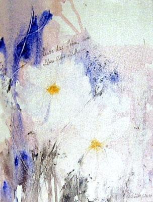 "Nr. 526  / ""Blumengruß"" /  30 cm x 40 cm / Acryl auf Leinwand"